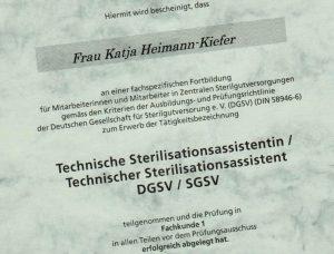ein Ausschnitt meines Zertifikats als Technische Sterilisationsassistentin